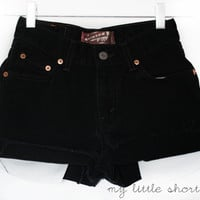 High Waisted Black Denim Levi's Shorts (Size 24) - CUSTOMIZABLE