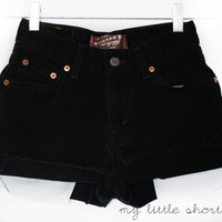 High Waisted Black Denim Levi&#x27;s Shorts (Size 24) - CUSTOMIZABLE