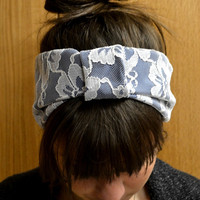 Navy Blue and White Lace Headband