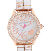 Betsey Johnson Watch, Women's White Enamel and Rose Gold Tone Bracelet 42mm BJ00198-03 - Women's Watches - Jewelry & Watches - Macy's