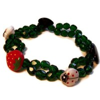 Stretch Bracelet Green Czech Glass Buttons Ladybugs Hearts Strawberry