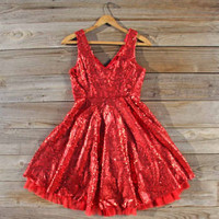 Dazzling Dusk Party Dress in Red, Sweet Women&#x27;s Bohemian Clothing