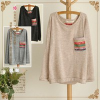 Print Pocket Long Sleeve Knit Top multicolored striped long-sleeved  by ClothLess
