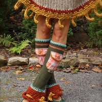 RESERVED Custom order Boho Urban Chicks LEG Warmers Flared leg warmers cute POCKETS Fall colors leg warmers Bell Bottoms eco friendly