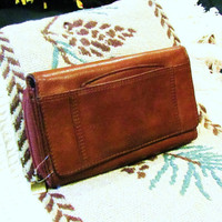 vintage brown leather Rolfs wallet organizer.  leather organizer. leather checkbook cover. brown leather clutch
