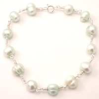 Mint Freshwater Pearl Bracelet Hand Wrapped Wire in Silver