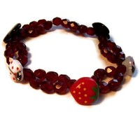 Red Stretch Bracelet Czech Glass Buttons Swarovski Crystal Beads