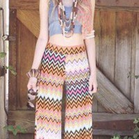 Bohemian Hippie Beach Multi Color Stripe Pants Small/Medium