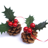 Christmas ornaments, set of 2, holiday decor