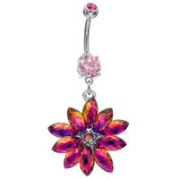 New Rainbow Shimmering Snowflake Dangle Belly Button Ring Surgical Steel