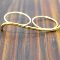 Gold Hammered Double Finger Ring
