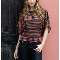 AZTEC INSPIRED DOLMAN SLEEVE SWEATER