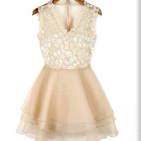 Sweet Style V-Neck Lace Splicing Sequin Embellished Sleeveless Voile Dress For Women
