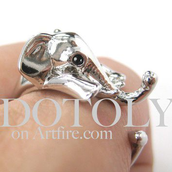 Miniature Elephant Animal Hug Wrap Ring in SHINY Silver - Size 5 to 10 by Dotoly
