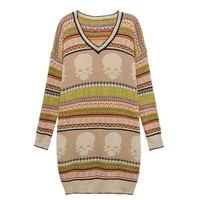 National Style Skull Pattern Girls Sweaters Khaki : Wholesaleclothing4u.com