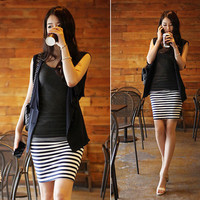 Casual Sky Blue Corset Stripe Women Skirts : Wholesaleclothing4u.com