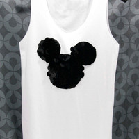 MICKEY MOUSE T Shirts Tank Top White sleeveless Top Blouse handmade crystal seed beads sequins sew fix