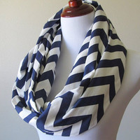 Navy Blue Chevron Infinity Scarf - ZigZag Scarf - Circle Scarf - Loop Scarf - Screen Printed