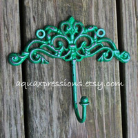 Metal Wall Hooks /Bright Green /Painted Shabby Chic Decor /Painted Ornate Hanger /Distressed Bathroom Fixture /Bedroom /Nursery