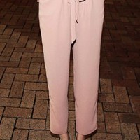 Korean Fashion Empire Waist Pants Pink : Wholesaleclothing4u.com