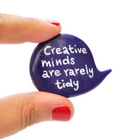 Purple pin brooch polymer clay speech bubble