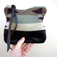 Oregon Pendleton Wool and Leather Pouch