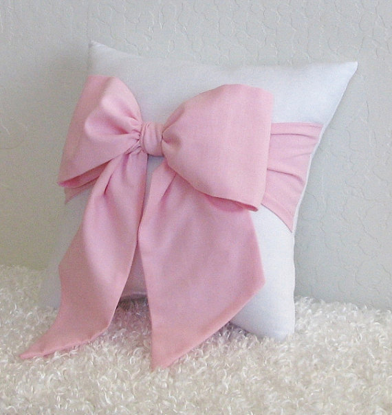 Throw Pillow With Bow : Pink and White Bow Accent - Throw Pillow from pillowsbycindee on