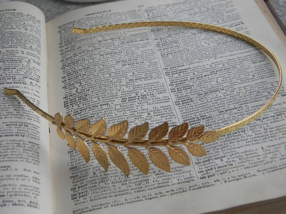 Victorian Inspired 22K gold plated Leaf headband by CreativeKates