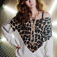 Off Shoulder Leopard Split Joint Long Sleeve T-shirt: tidestore.com