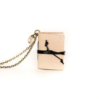 Steampunk leather necklace journal miniature book with blank pages brass chain - gift for her - beige ecru cream almond