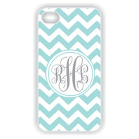 Monogram iPhone 4 Case - Tiffany Blue iPhone Case with Monogram  iPhone Case, iPhone 4s Case, Monogrammed iPhone Case (iM2037)
