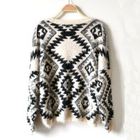 Korea thickened order retro vintage black and white geometric pop wind sweaters by ClothLess