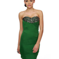 Gorgeous Green Dress - Beaded Dress - Strapless Dress - &amp;#36;46.00