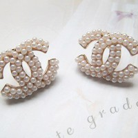 Forever Elegant Classy Ivory Beaded Studs Earrings. Chanel Inspired