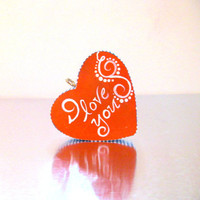 I LOVE YOU Orange and white: Hand painted Wood Heart