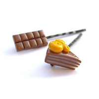 Chocolate bar and lemon cake Hair pins Miniature by JPwithLove