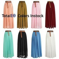 10colors New Ladies Chiffon Pleated Retro Long Maxi Dress Elastic Waist Skirt