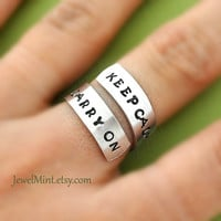 Keep calm and carry on ring, Custom Ring, Personalized Ring, happy ring, Best friends gifts, Twist ring, wrapped ring, Adjustable ring