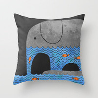 Thirsty Elephant  Throw Pillow by Terry Fan | Society6