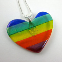Rainbow Fused Glass Heart Necklace