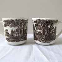 J&amp;G Meakin Cups Set 2 Transferware White and Brown by pillowsophi