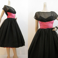 50s Dress Vintage Black Organza Full Skirt Party Dress Pink Satin Sash Wrap waist S M