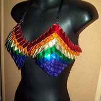 Pride chainmaille bra, scalemail bikini, rainbow bra, scale bikini, fantasy armor, burning man, fairy fest, sexy, gypsy, lesbian, gay