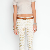 Hand Printed &#x27;Mountain&#x27; Leggings in Gold on Creme