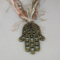 OOAK Artsian Fiber Necklace With Antique Gold Hamsa Pendant
