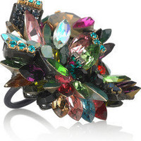 Erickson Beamon|Confetti gunmetal-plated Swarovski crystal ring|NET-A-PORTER.COM