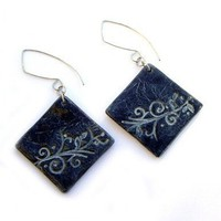 Earrings Black and white polymer clay jewelry by JPwithLove