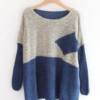 Bat Sleeve Sweater with Pocket Blue