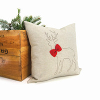 Christmas pillow cover, Holiday home decor, Throw pillow, Ornament pillow - Brown deer silhouette with red felt bowtie on natural fabric