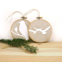 Christmas tree ornaments, Rustic decor, Bird decoration, Ornaments set of two (2) -Natural and white wooden embroidery hoops